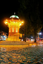 Historical fount in Sarajevo - Night scene Royalty Free Stock Photos