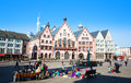 Historical frankfurt main germany the famous romer square in the city of Royalty Free Stock Photo