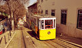 Historical gloria funicular in lisbon portugal a view of the Stock Images