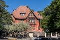 Historical house bellavista santiago do chile the facade of a half timber in neighbourhood Stock Photography