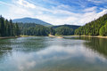 Historical lake in carpathian mountains the terrain sinevir ukraine Royalty Free Stock Image