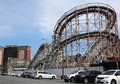 Historical landmark cyclone roller coaster in the coney island section of brooklyn new york april on april is a Royalty Free Stock Photography