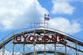 Historical landmark cyclone roller coaster in the coney island section of brooklyn new york july on july is a Stock Photo