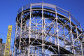 Historical landmark cyclone roller coaster in the coney island section of brooklyn new york march on march is a Royalty Free Stock Photo