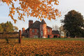 Historical mansion red brick with victorian style in autumn at germantown md usa Stock Photo
