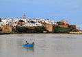 The historical medina of the city of rabat capital of morocco viewed from the river Stock Images