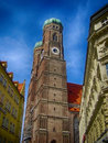 Historical monuments building church tower munich germany Royalty Free Stock Photo