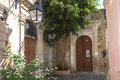 Historical ornaments at the old doors in rethymno part of venetian architecture characterizes town of Stock Photos