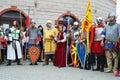 Historical reconstruction of medieval bulgarian costumes mezdra bulgaria – may masks haircuts armory and ways living during Royalty Free Stock Photos
