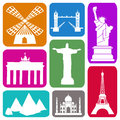 Historical sites wallpaper with famous in colorful rectangles Stock Photo