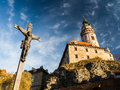 Historical town with catle castle in cesky krumlov czech republic Stock Photos