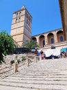 Historical town part of sineu mallorca spain june with the church nostra senyora dels angels and the weekly Royalty Free Stock Photography