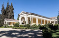 Historical winery house santiago do chile a typical colonial yellow of a with its garden plants and arch entrance in Royalty Free Stock Photos