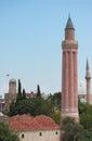Historical Yivli minaret, downtown of Antalya Royalty Free Stock Photo