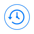 History, clock with arrow around circular line icon. Round colorful sign. Flat style vector symbol.