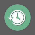 History, clock with arrow around flat icon. Round colorful button, circular vector sign with shadow effect. Flat style design.