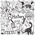 History education subject handwriting doodle icon