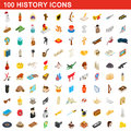 100 history icons set, isometric 3d style