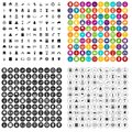 100 history icons set vector variant