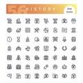 History Line Icons Set