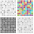 100 history museum icons set vector variant