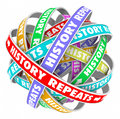 History repeats over again repetitive words cyclical yesterday t on colorful ribbons in a circle to illustrate actions in a Stock Photo
