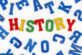 History series education school subjects word made from colorful wooden letters Stock Image