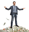 Hit the jackpot lucky gentleman presents itself surrounded by money isolated on white background Stock Photos
