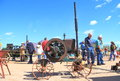 Hit miss flywheel engine was exhibition apache junction arizona usa arizona early day gas engine tractor association march machine Stock Photos