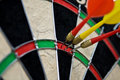 Hit point in darts Royalty Free Stock Photo