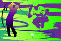 Hit show golf swing creative graphic sports green lawn is decorated with a paintbrush and a net plot shows the standing and Stock Photography