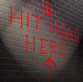 Hit your head against brick wall illustration depicting graffiti on a with a hopeless concept Royalty Free Stock Photos