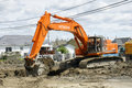 Hitachi orange digger Royalty Free Stock Images