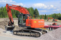 Hitachi Zaxis 225 USRL Crawler Excavator at Construction Site Royalty Free Stock Photo