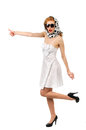 Hitch hiking beautiful young woman on white background Stock Images