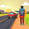 Hitchhiking road travel. Thumbing man stopped car