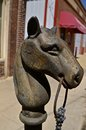 Hitching post horse head Royalty Free Stock Photo