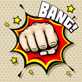 Hitting fist bang in pop art style vector illustration struggle concept background power hit protest and attack Stock Image