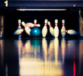 Hitting the skittles Royalty Free Stock Photography