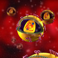 Hiv cells in blood stream virus Royalty Free Stock Image