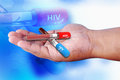 Hiv positive and negative blood collection tube with test Stock Photo