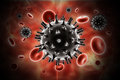 Hiv virus digital illustration of in blood stream in color background Royalty Free Stock Images