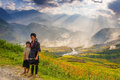Hmong peaple in sapa vietnam the symbol of are mhong people and landscape of terraced rice field Royalty Free Stock Images