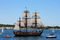 Hms bounty in newport parade of sail the participates the ri Royalty Free Stock Photos