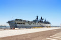 Hms bulwark royal navy military ship the in the port of lisbon portugal in august Stock Images
