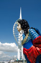 Hms marlborough figurehead portsmouth historic of the first duke of john churchill with spinnaker tower behind gunwharf quays the Royalty Free Stock Photo