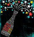 Happy New Year 2020 design. Abstract champagne bottle with inspiring handwritten words, bursting stars.