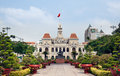 Ho chi minh city hall hotel de ville de saigon was built french colonial style then city saigon was renamed as ho chi minh city Stock Images