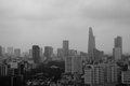Ho chi minh city skyline in foggy morning cloudy and black and white Royalty Free Stock Photos