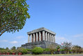Ho Chi Minh Mausoleum in Hanoi Vietnam with big tree on the left Royalty Free Stock Photo